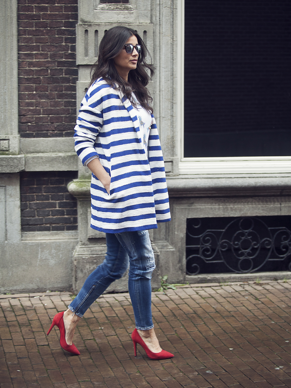 streetstyle look street photography spring 2015 stripes breton red pumps Pinko Dsquared BlogForShops
