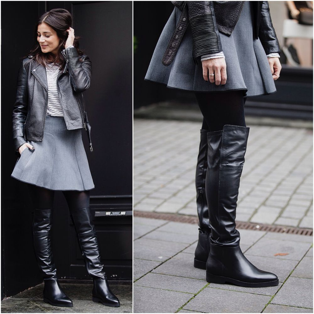streetstyle look fall 2015 BlogForShops wearing For all Mankind leather bikerjacket, striped top Massimo Dutti, Skirt by Paul&Joe sister overknee tall boots Lola Cruz